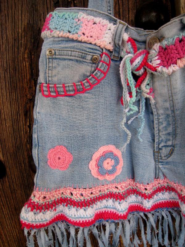 bolso vaquero y crochet
