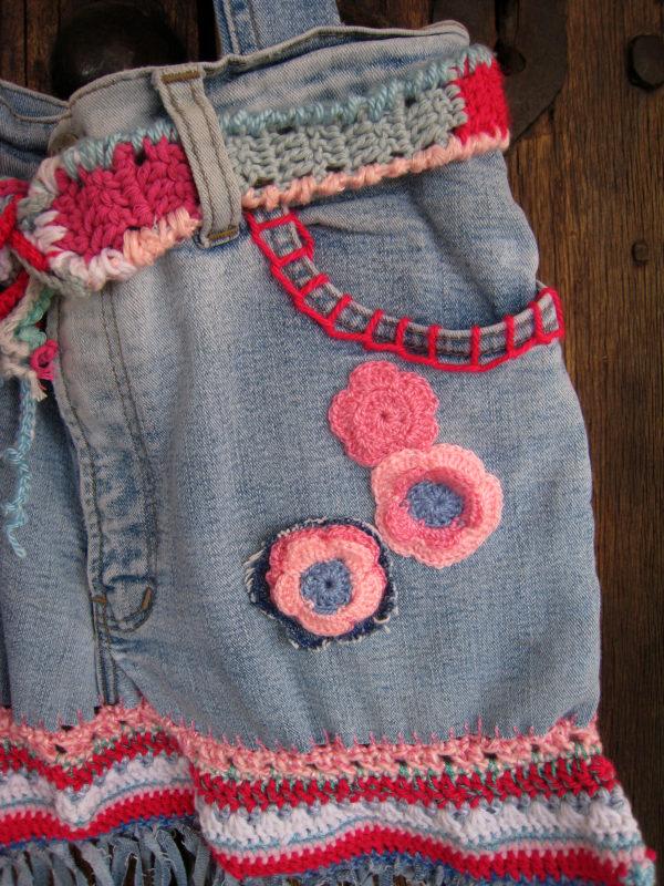 bolso jeans y crochet