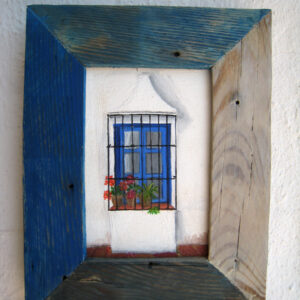 cuadro ventana andaluza azul